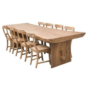 Rustic Suar Slab Dining Table with Teak Chairs