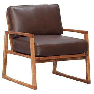 Retro Teak and Leather Chair Small