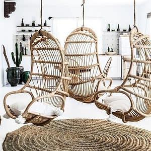 Bali Rattan Cane Hanging Chairs Pods, Cushions-400