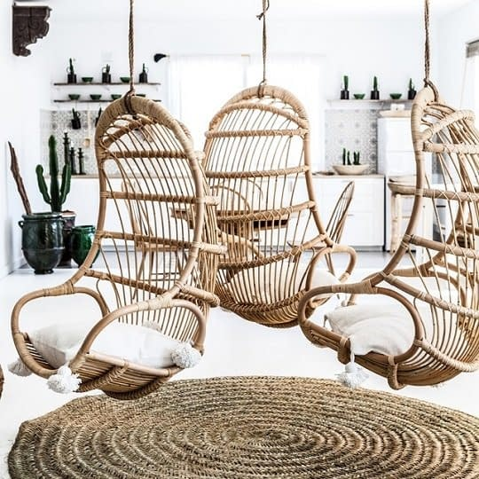 Bali Rattan Cane Hanging Chairs Pods, Cushions-540