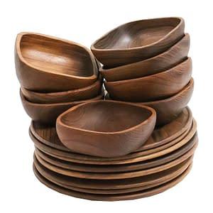 Teak Plates and Bowls