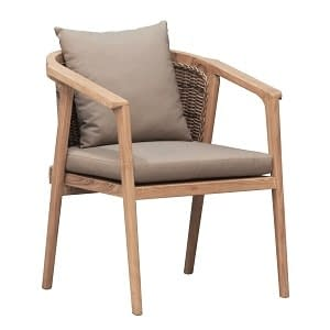 Teak and Woven REsin Outdoor Chair Large