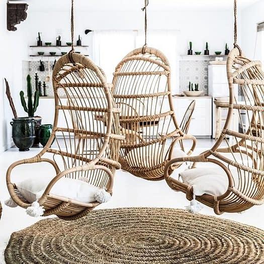 Bali Rattan Cane Hanging Chairs Pods, Cushions-540